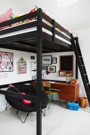 Loft bed, space saving bedroom