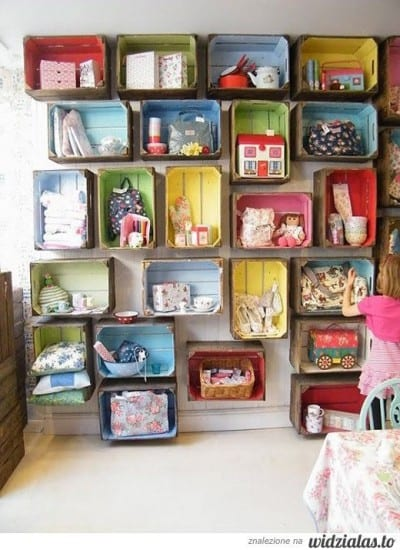 Apple crate storage, kids room