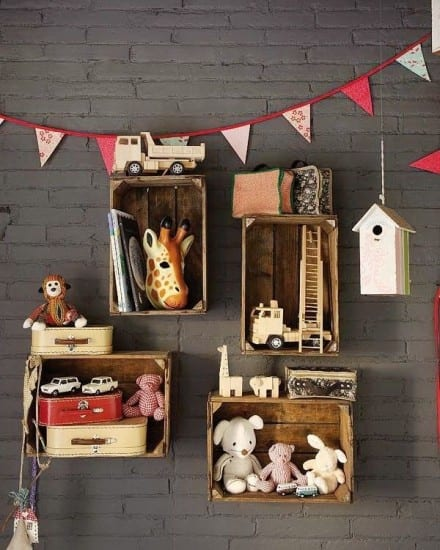 Kids room storage, apple crates