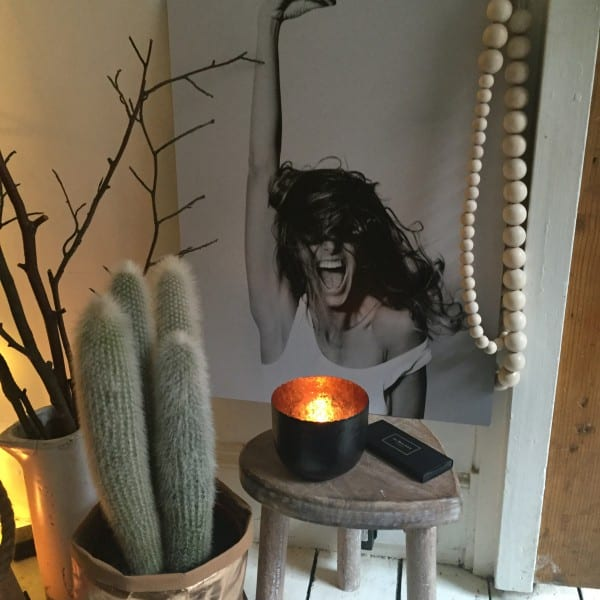 cactus, candles and a print
