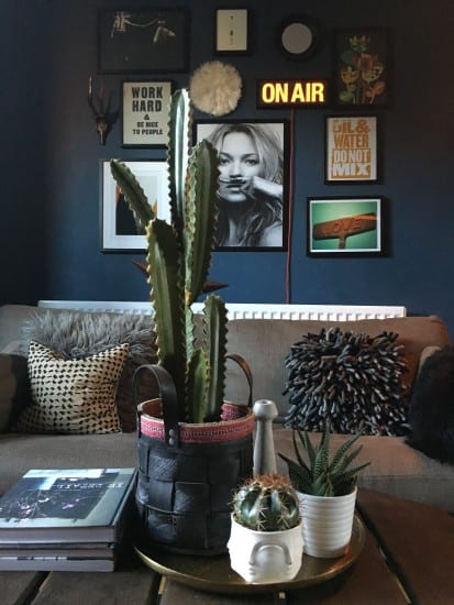 Living room, gallery wall, faux cactus, dark interiors, stiffly blue, farrow and ball, vignette
