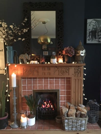 Fire place, living room, mantel styling, fireplace styling, faux cherry blossom, artificial flowers