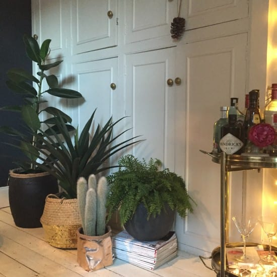 Faux plants, dining room, fake flowers, artificial plants, artificial flowers, bar trolley, drinks cart, white wooden floor