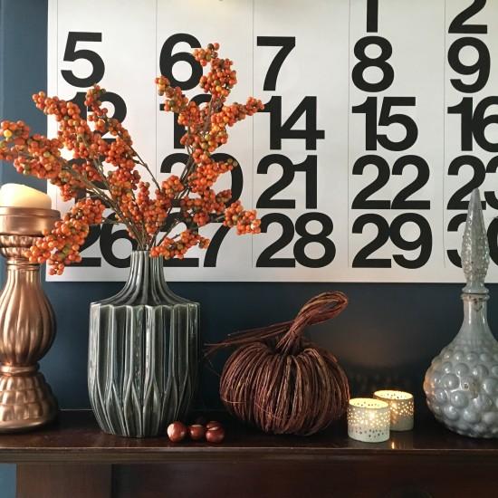 Autumnal vignette, pumpkin, berries