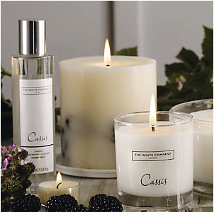 White company cassis, candle, autumn