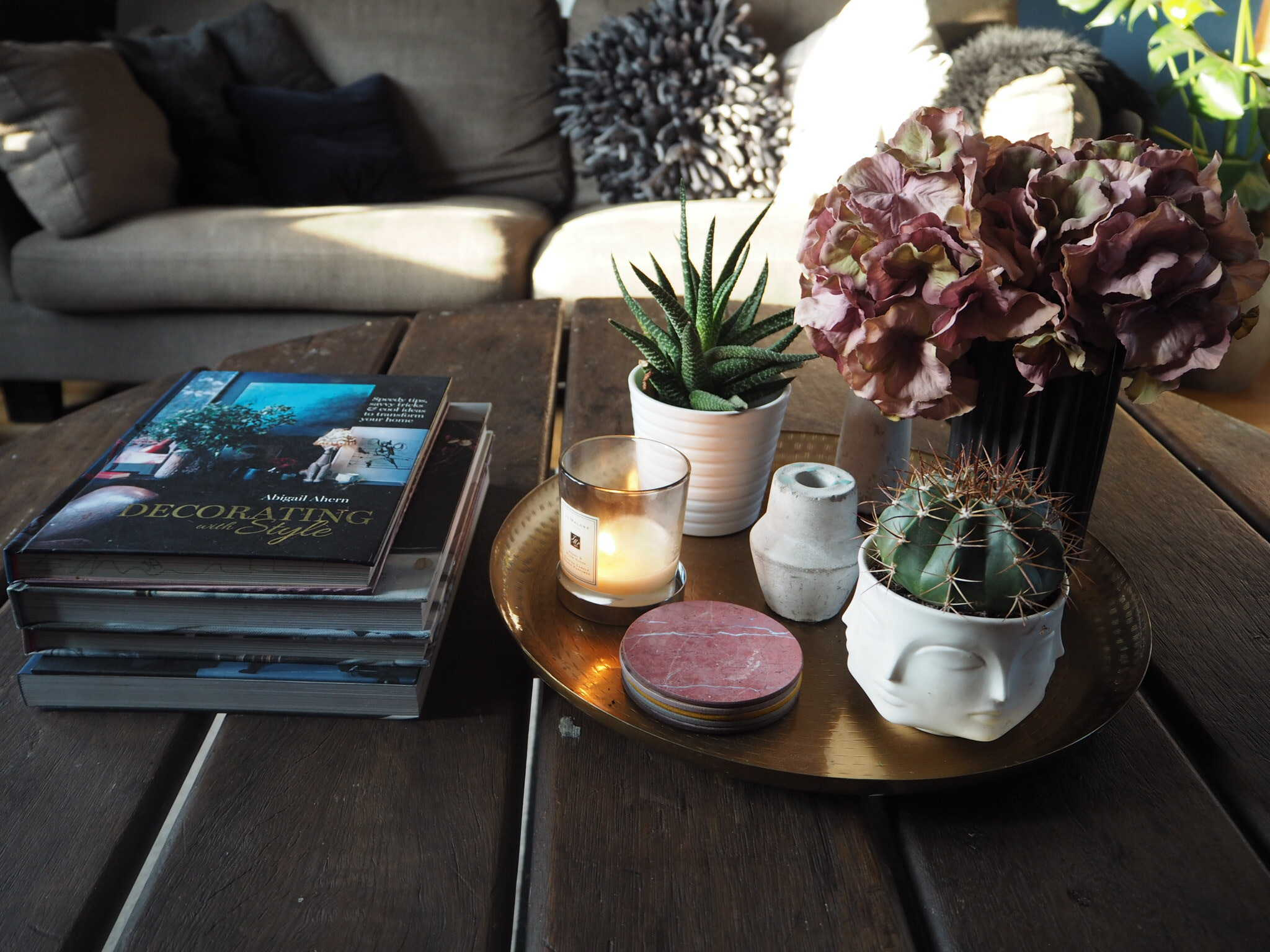 Tablescape with interior coffee table book styling