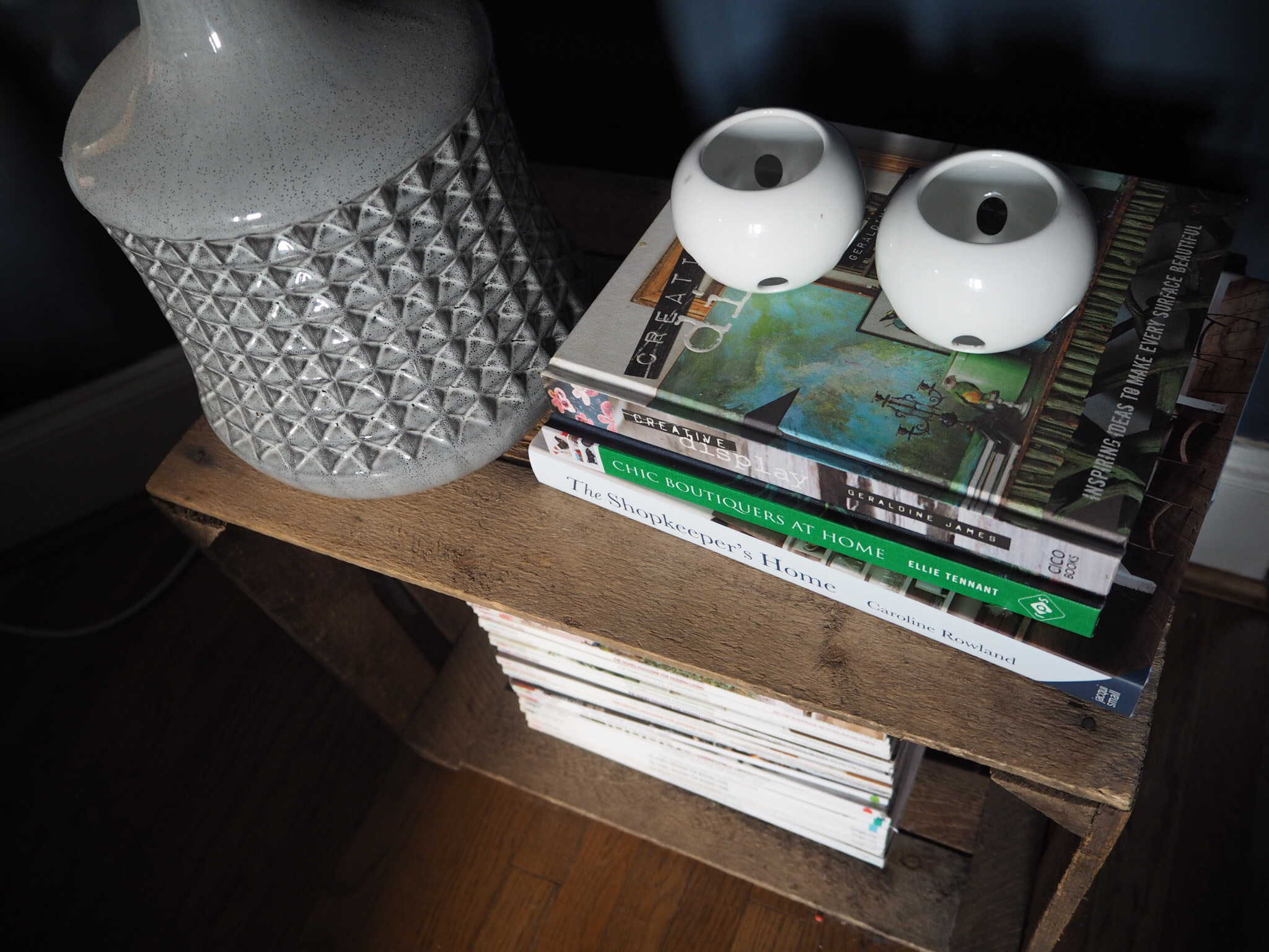 Apple crate side table