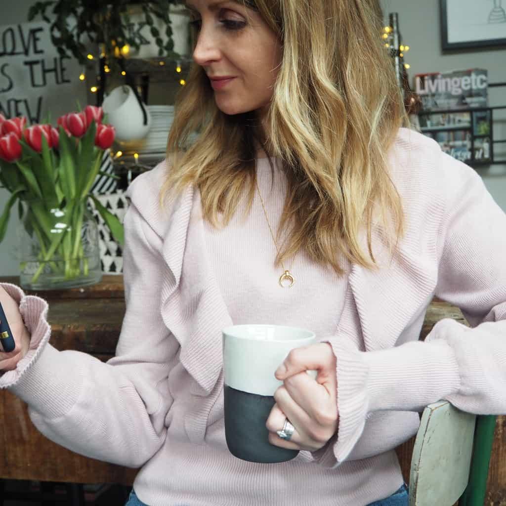 H&M frill jumper pink