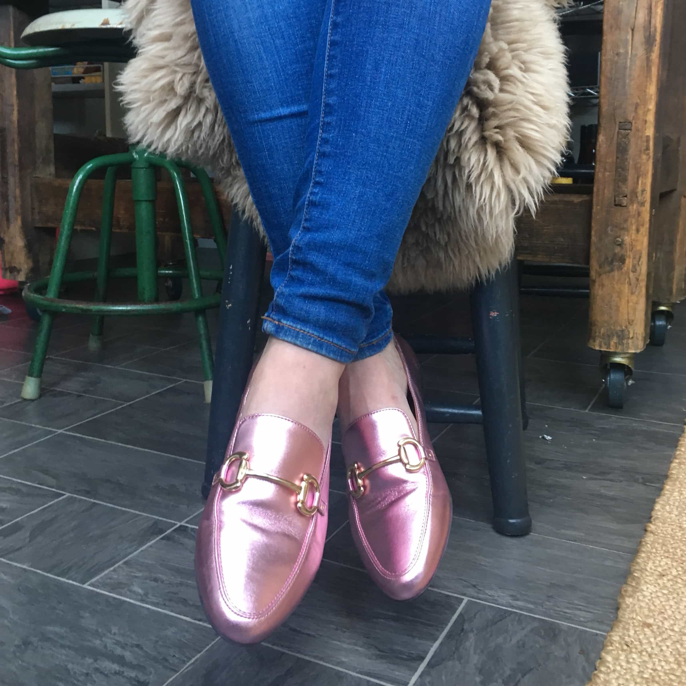 & Other Stories Metallic pink loafers