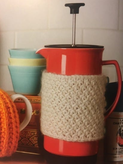 Purls pf wisdom book, Jenny Lord, knitted cafetière cosy