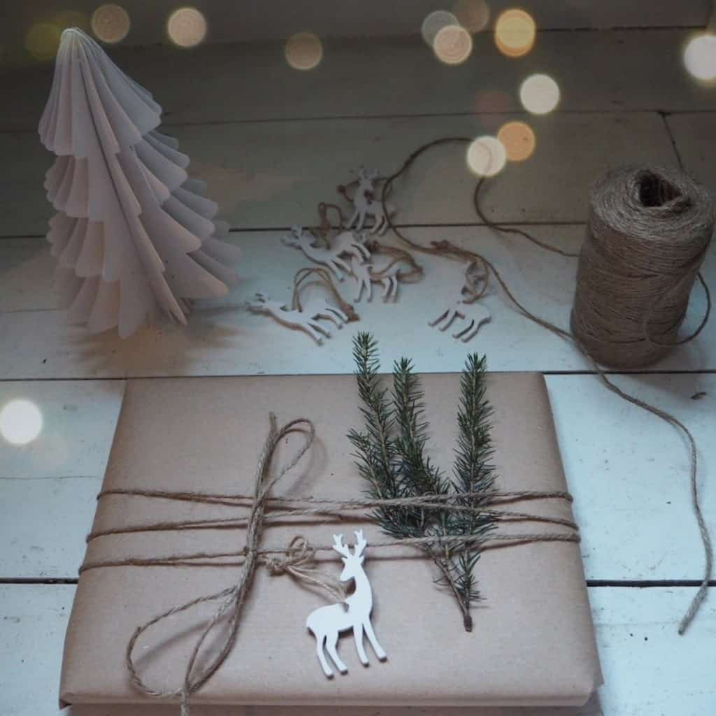 Stylish Christmas gift wrapping ideas, brown paper, Sainsbury's reindeer tag