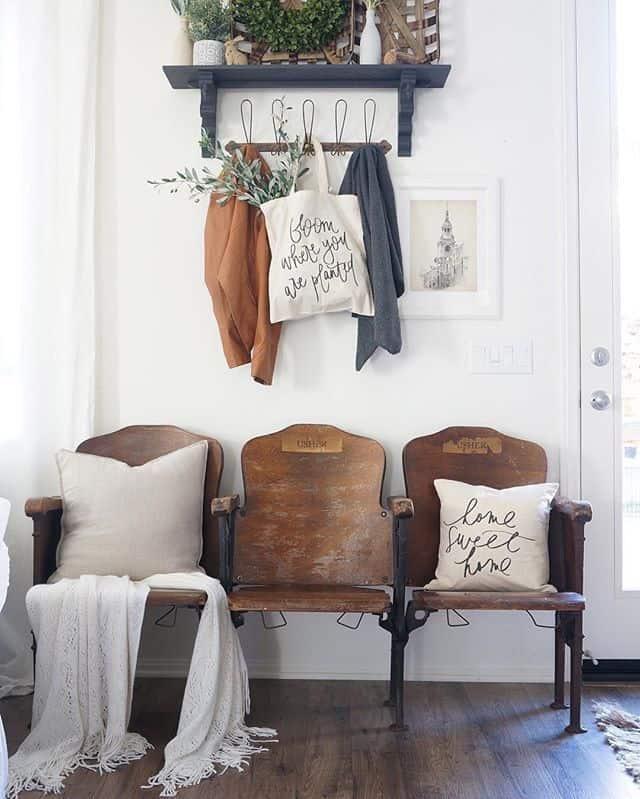 Hallway renovation, cinema chairs vintage