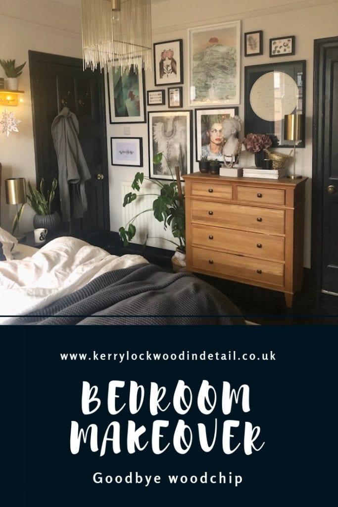 master bedroom makeover, Kerry Lockwood, wood chip removal, peg rail shelf DIY