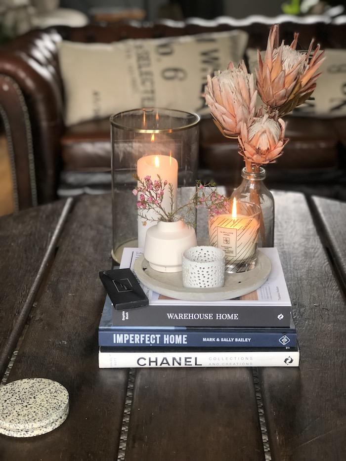Coffee table styling 3 ways, minimal