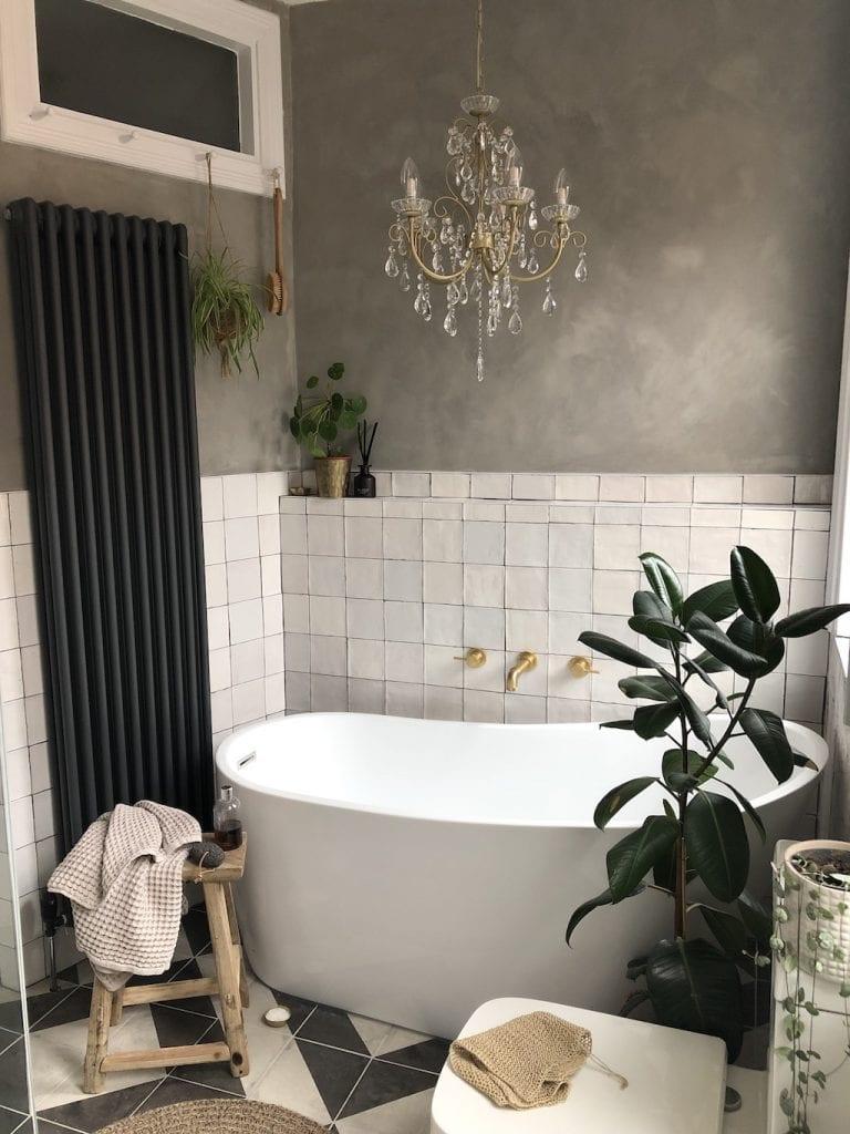 Bathroom renovation, IP44 chandelier, bath, tiles