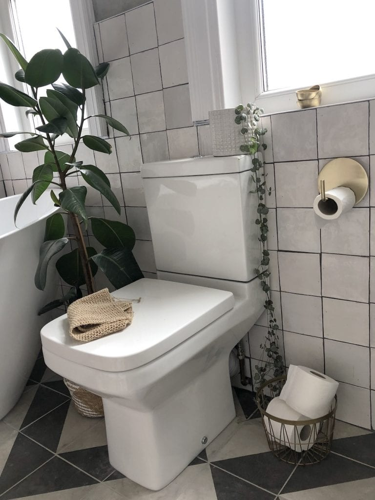 bathroom, rented house, toilet, tiles, mandarin stone