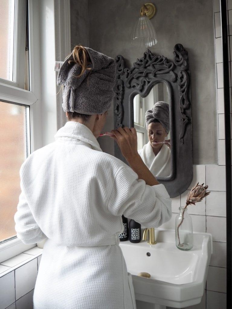 Mirror, brushing teeth, wall tiles, bathroom