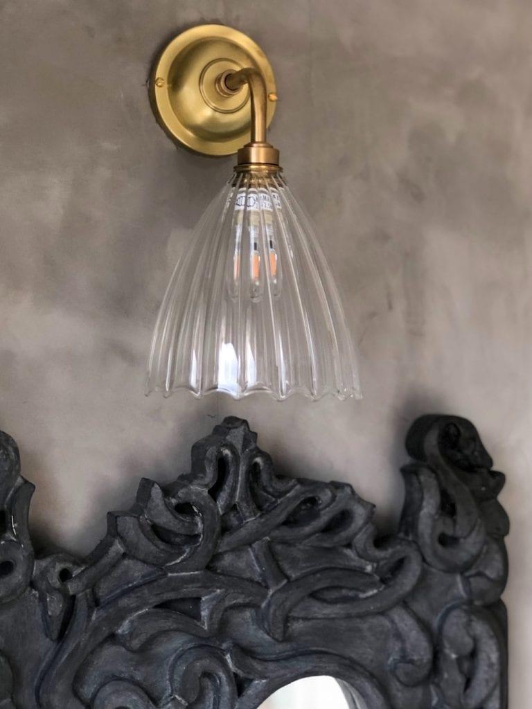 Bathroom light, Fritz Fryer, glass fluted wall light
