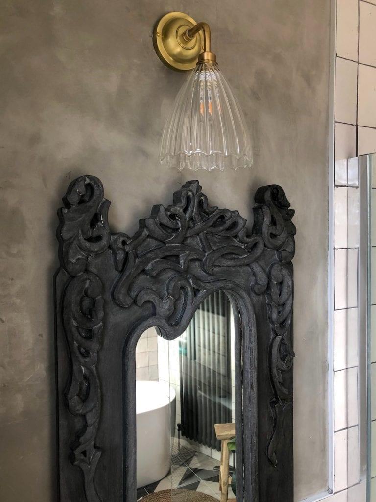 mirror, wall light, fluted glass, Fritz Fryer