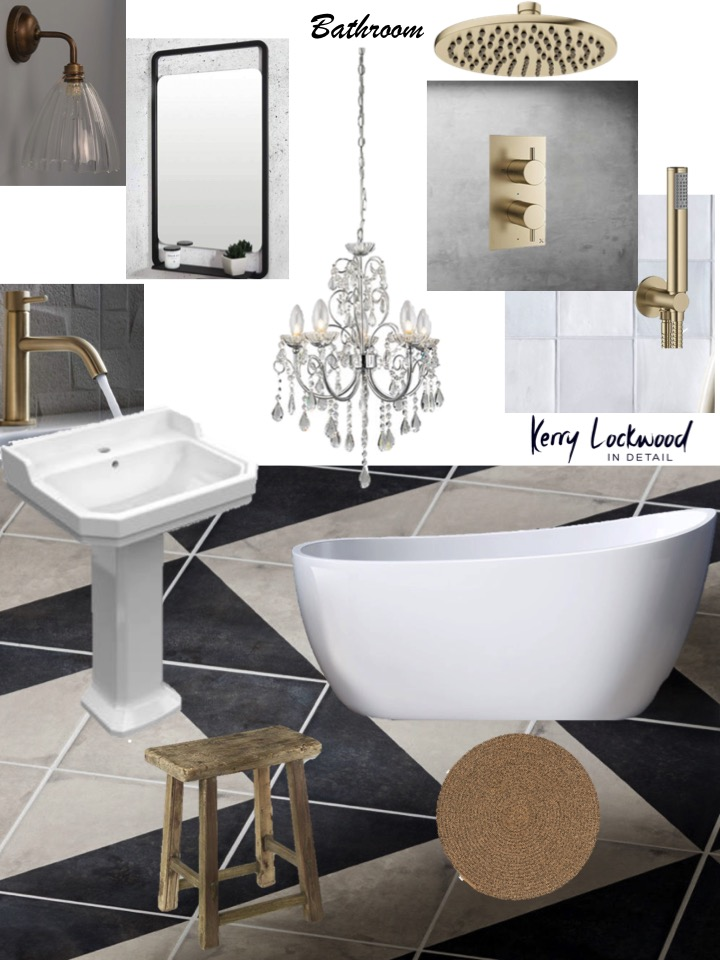 Rented bathroom design, moodboard