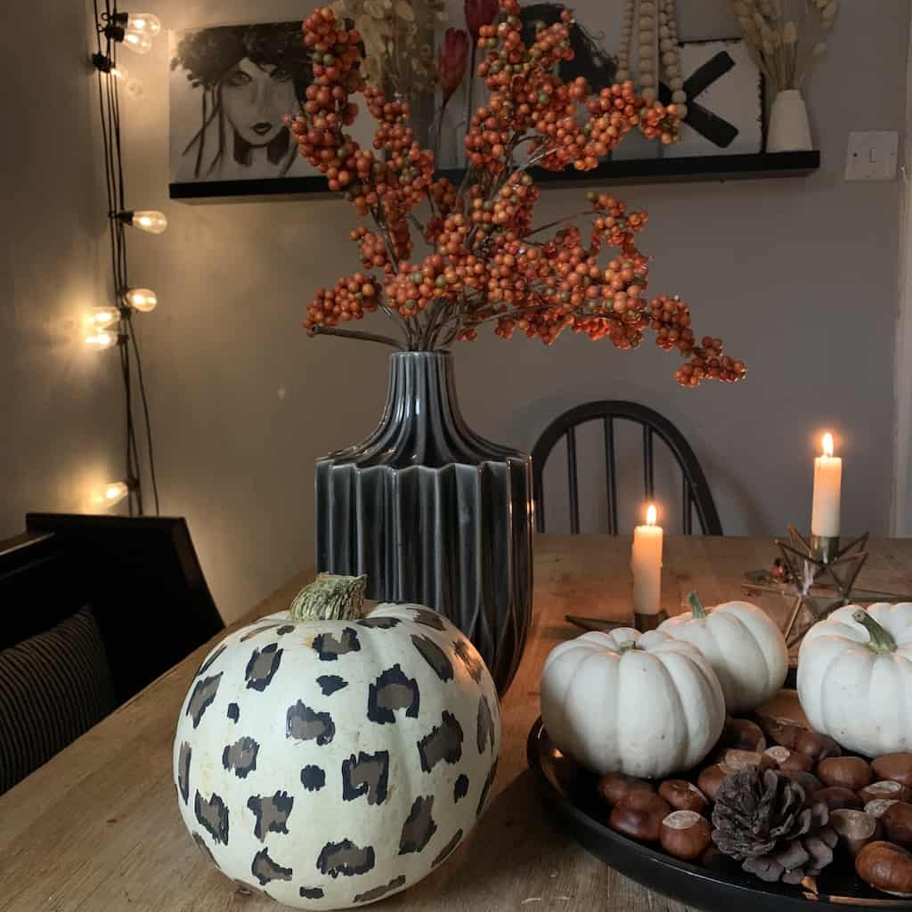 Dining table, leopard print pumpkin display