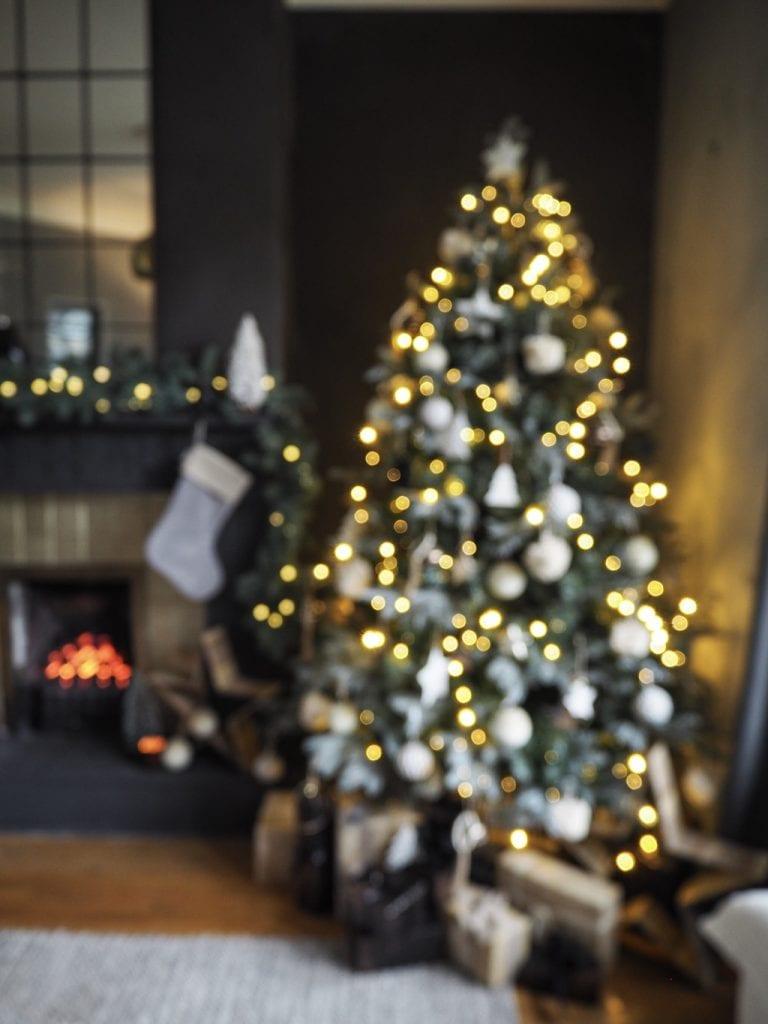 Christmas tree blurry, lights
