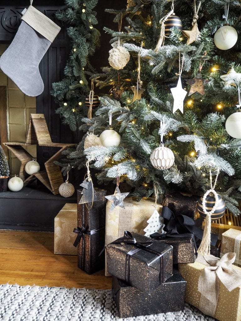 Christmas tree and presents, new nordic noir