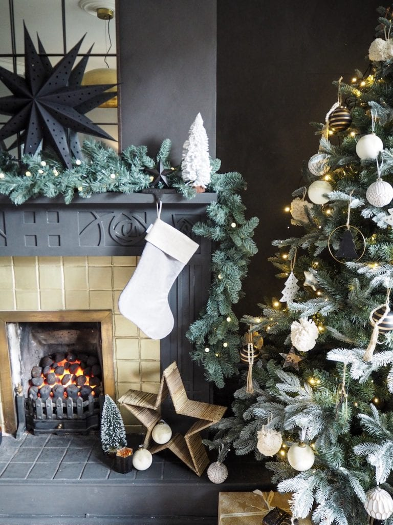 Christmas tree and decorated mantlepiece