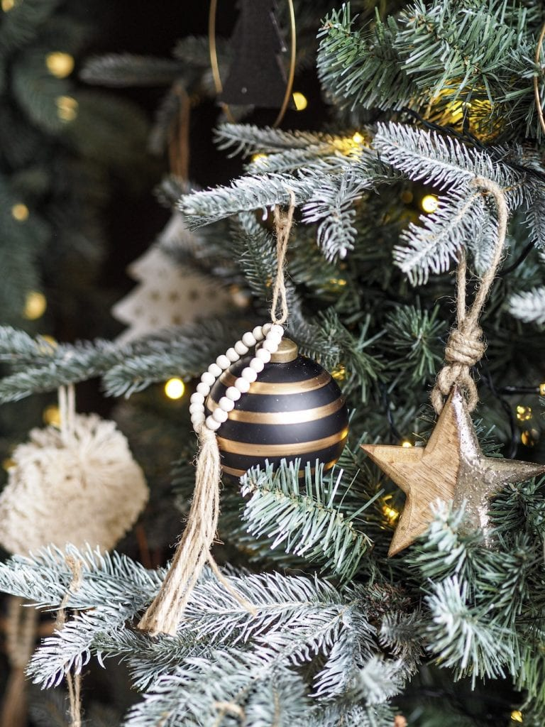 Christmas tree decorations, Black and gold , mono striped beaded baubles
