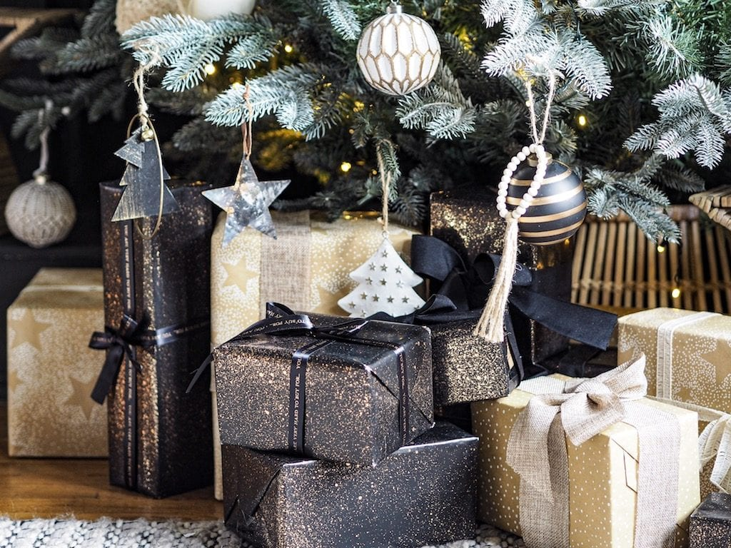 Christmas presents wrapped under the tree