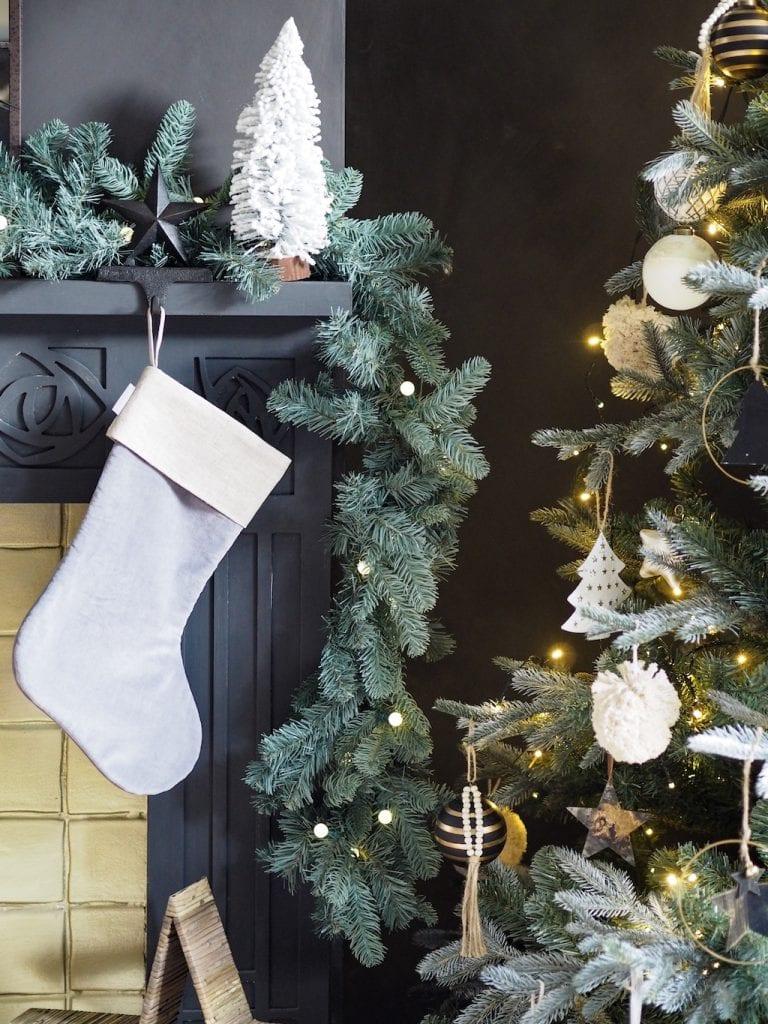 Grey velvet stocking