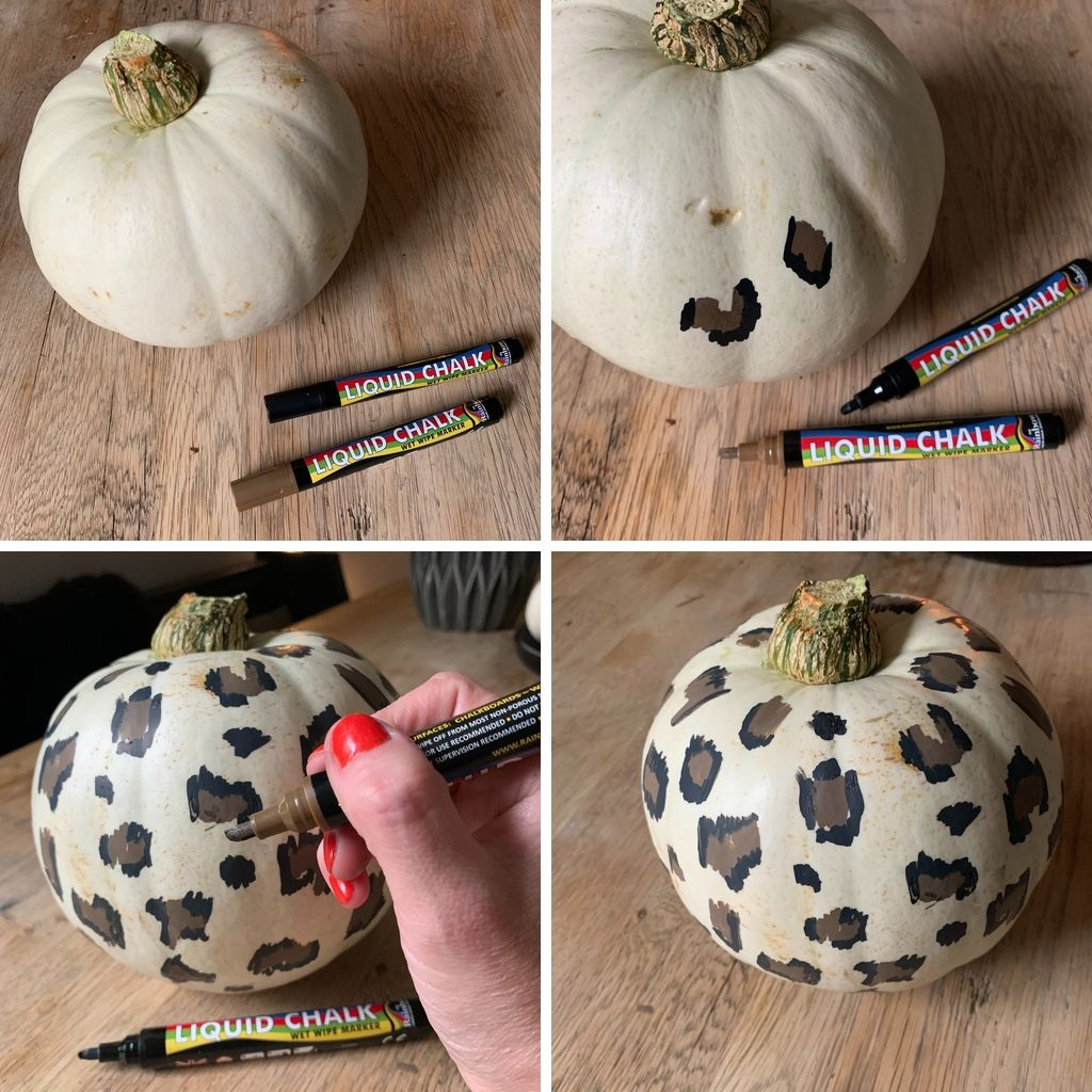 How to design leopard print pumpkins