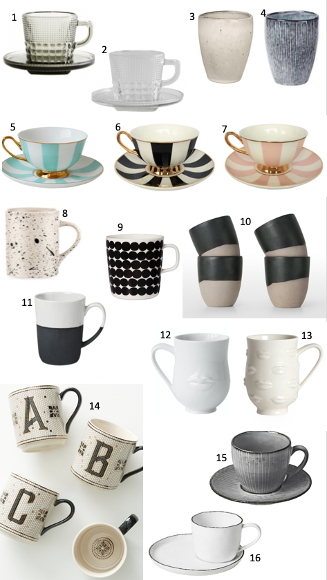 Favourite mugs and tea cups