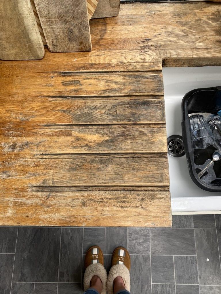 Black watermarks on kitchen worktops