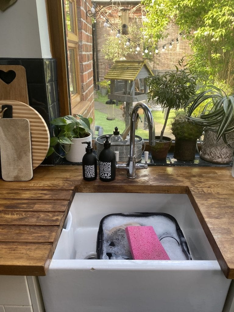 Finished kitchen worktop after stain removal