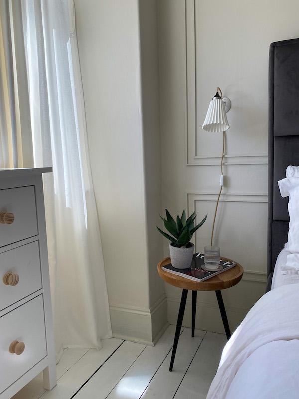Bedside table, neutral bedroom