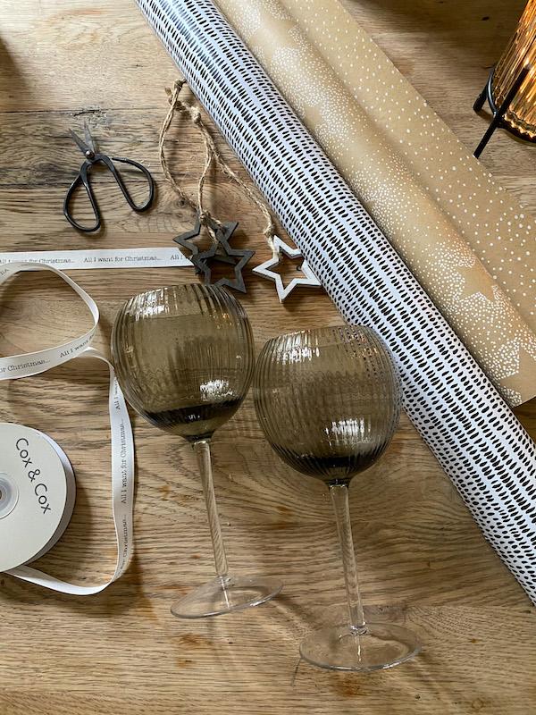 Smoke fluted wine glasses, Cox & Cox
